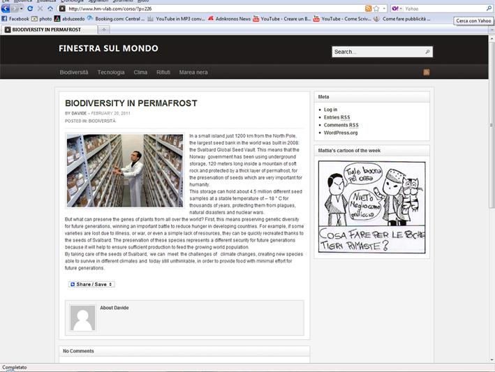 Finestra sul mondo il sito web fatto dai gne giornalisti nell 39 erba - Finestra sul mondo ...